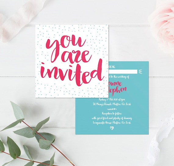 Quirky Wedding Invitation: Pinky Blue Quirky And Fun Wedding Invitation