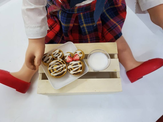 Mickey and Minnie inspired cinnamon rolls served warm on a plate with cold milk Inspired by American Girl intended for doll play AG Dolls