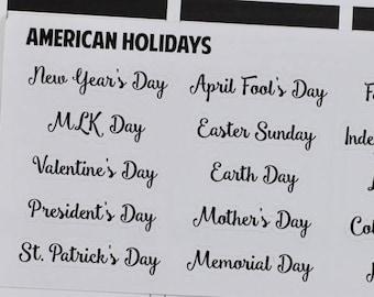 American Holidays Planner Stickers, U.S. Holidays Stickers, American Holidays Stickers, U.S. Holidays Planner Stickers, Script Stickers