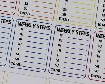 Step Tracker Planner Stickers, Weekly Steps Stickers, Erin Condren Sidebar, Step Tracking, Weekly Steps Sidebar, Daily Steps