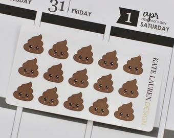 Kawaii Poop Emoji Planner Stickers, Kawaii Poo Emoji Stickers, Poop Planner Stickers, Kawaii Planner Stickers