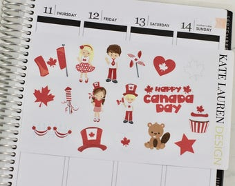 Canada Day Planner Stickers, Canada Day Stickers, Canada Planner Stickers, Canada Stickers