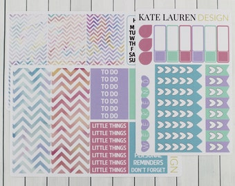 Watercolor Stickers, Weekly Planner, Erin Condren Sticker Kit, Planner Kit, Weekly Spread, Weekly Stickers