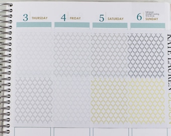 Metallic Full Box Planner Stickers for Erin Condren, Full Boxes, Metallic Planner Stickers, Quatrefoil Planner Stickers