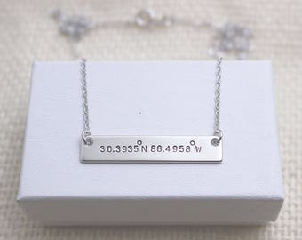 Personalized Initial Bar Necklace + Silver Bar Necklace + Custom Name Bar + Personalized Name Bar Necklace + Name Necklace + Mother's Day