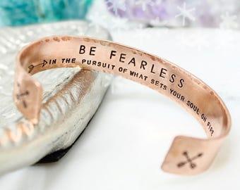 Motivational Cuff - Inspirational Jewelry - Fearless Bracelet - Graduation Gift - Inspirational Bracelet - Copper Bracelet - Hidden Message