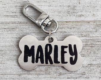 Custom Dog Tag in Gold, Silver, Rose Gold or Black, Engraved Stainless Steel Pet ID Tag, Dog Bone, Personalized Dog Collar Tag, Dog Name Tag