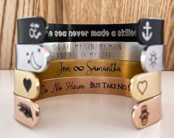 Mantra Bracelet, Personalized Cuff Bracelet, Inspirational Gift, Graduation Gift, Engraved Cuff, Gold Cuff, Custom Name Bracelets For Women