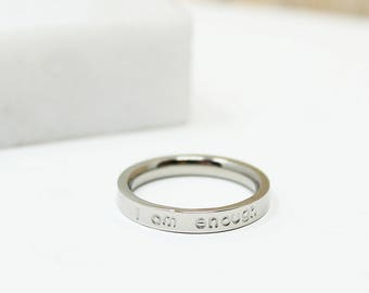 Silver Ring + Inspirational Gift + Motivational Ring + Personalized Ring + Custom + Graduation + Rose Gold Ring + Thin Ring + Rose Gold Ring