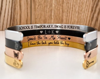 Personalized Cuff Bracelet, Gift For Her, Custom Jewelry, Custom Bracelet, Stacking Bangle Cuff, Birthday Gift, Inspirational Bracelet