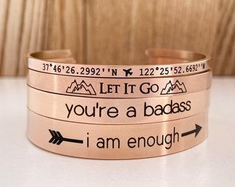 Rose Gold Bracelet, Gift For Her, Cuff Bracelet, Engraved Quote Bangle, Bracelet Rose Gold, Personalized Rose Gold, Bracelet Coordinates GPS