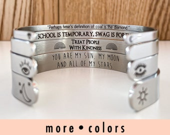 Personalized Bracelet, Custom Bracelet, Inspirational Gift, Engraved Cuff, Bridesmaid Bracelets, Stacking Bracelets, Gift For Her, Jewelry