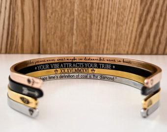 Secret Message Bracelet, Inside Engraved Cuff, Mantra Bracelet, Skinny Cuff Bracelet, Silver, Gold, Rose Gold, Personalized Hidden Message