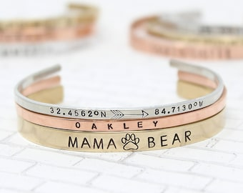 Mother's Day Gift + Personalized Copper Cuff + Copper Jewelry + Brass Cuff + Custom Stacking Bracelets + Personalized Bangle Bracelet + Mom