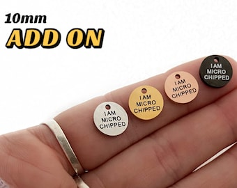 I Am Microchipped Add On Dog Tag, Microchip Add On, Small Dog Tag, Pet Tag, Pet ID Tag, Pet Accessories, Engraved Tag, Small Cat Tag, 10mm