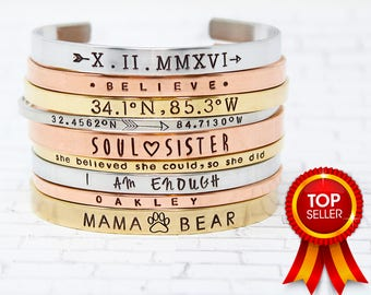 Personalized Gold Band Cuff Bracelet Personalized Bracelet Bangle Stacking Bracelets Customized Cuff Hand Stamped Bracelet Cuffs Gift Mama
