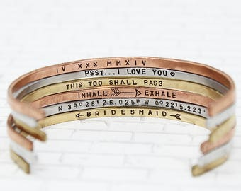 Skinny Mantra Cuff + Hidden Message Bracelet + Personalize Your Own + Gift For Daughter + Gift For Mom + Best Friend Gift + Stackable Cuffs