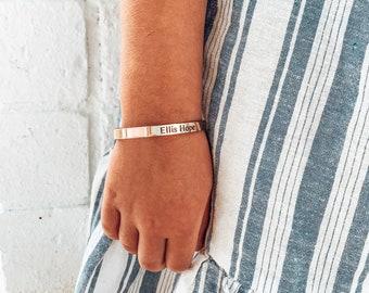 Baby Bracelet, Toddler Bracelet, Children's Cuff Bracelet, Little Girl Name Bracelet, Mommy And Me, Kid Bracelet, Engraved Bracelet, Jewelry