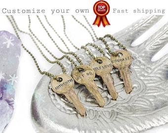 Personalize Your Own Stamped Key Necklace / Key Jewelry / Vintage Key / Dainty Necklace / Engraved Key / Antique Key / Skeleton Key / Boho