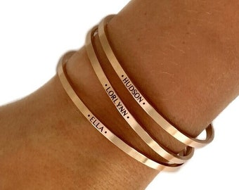 Personalized 1/8 inch Cuff Bracelet, Name Bracelet, Silver, Rose Gold, Gold Bangle, Custom Bracelet, Delicate Stacking Bracelet, Women's