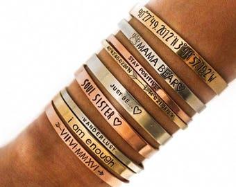 GPS Bracelet + Personalized Coordinate Bracelet + Wedding Gift + Bridesmaid Bracelets + Engraved Cuff + Skinny Cuff + Roman Numerals Cuff