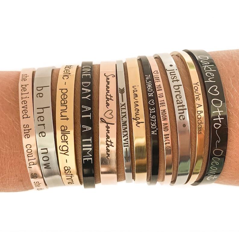 Personalized Bracelet Custom Bracelet Inspirational Gift image 0