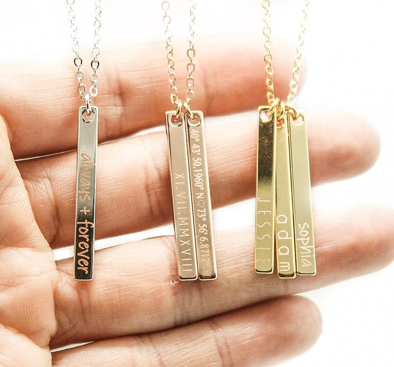 8623f31778f Personalized Bar Necklace, Name Necklace, Silver, Rose Gold, Custom  Necklace, Monogram Necklace, Gift For Women, Gift For Her, Name Engraved