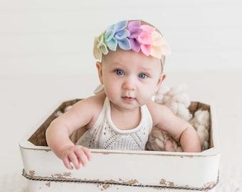 Rainbow OmiJo Newborn headband-Omijo Rainbow Simple Headband Newborn Photo Prop Rainbow Headband Rainbow baby Rainbow Baby Headband
