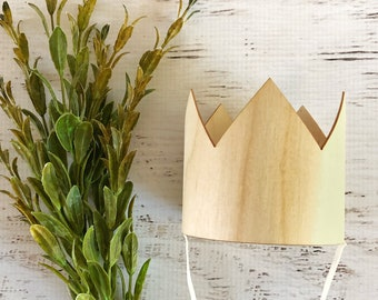Birch Wood Birthday Crown- Wood Crown Photo Prop, Woodland Theme 1st Birthday, Smash Cake Crown, Boy Crown Photo Prop, First Birthday