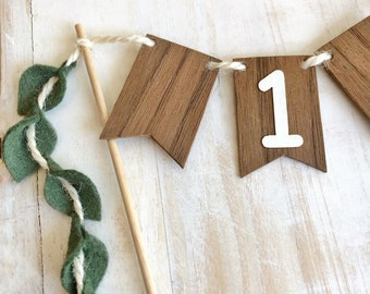 Wild One Cake Topper - Wood Cake Topper for First Birthday Boy or Girl, Safari Party, Vine Leaf Cake Decorations