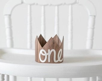 First Birthday ONE Crown - Gender Neutral Baby Crown, Boy or Girl 1st Birthday Party Hat, Cake Smash Photo Prop