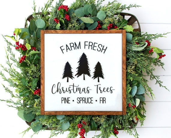 Christmas Tree Farm Sign Rustic Christmas Tree Sign Christmas