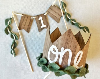 Wild One First Birthday Outfit- Crown and Cake Topper Set, Smash Cake Set Boy or Girl, Wild One, Safari Party, Woodland, Adventure Awaits