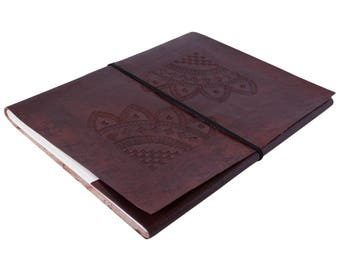 Large Brown Hand Embossed Leather Sketchbook