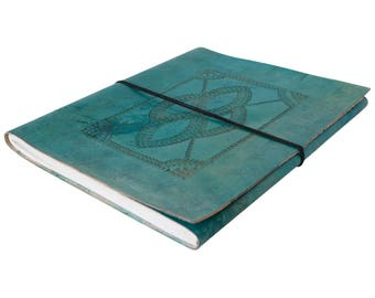 Large Turquoise Hand Embossed Leather Sketchbook