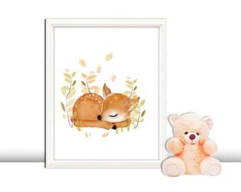 Fawn nursery decor, deer nursery wall art prints, baby's room art, gender neutral nursery, woodland nursery, fawn prints, deer art