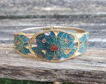 Cloisonne Bracelets 2 Set Bangles Vintage Red Beige Stacking Bracelets Gold Floral Cloisonne Enamel Jewelry Wedding Party Bridesmaid Gift
