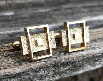 Vintage Gold /& Black Abstract Cufflinks Groom Anniversary Wedding. Birthday