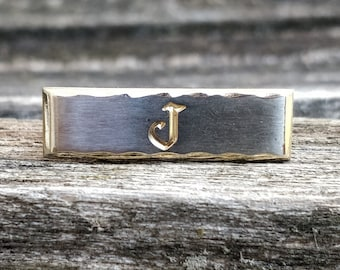 Letter F Etched Monogram Square Tie Clip