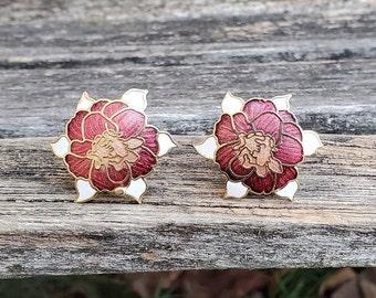 Vintage cloissonne earrings 80s recycled emaille flowers shabby metal flowers red green gold flower earrings boho earrings