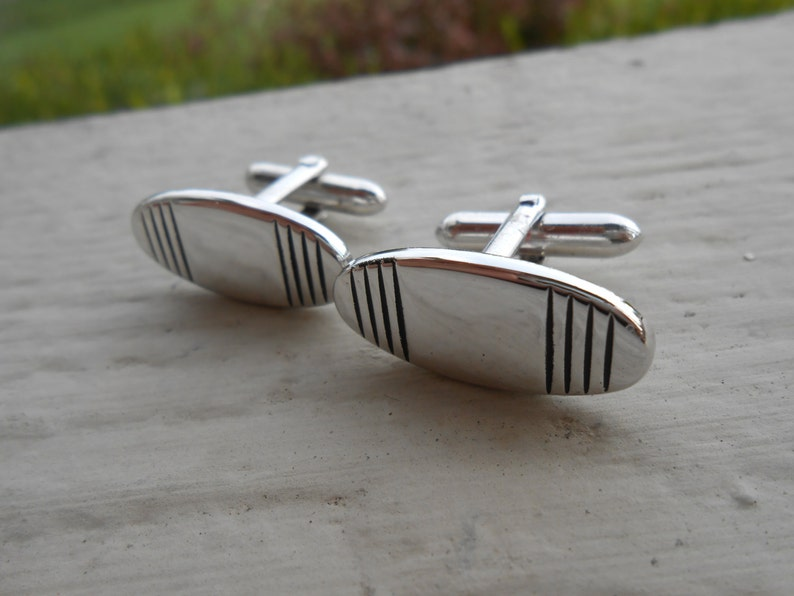 Wife Mom Gift For Dad 1990s Husband. Vintage Abstract Silver  Cufflinks