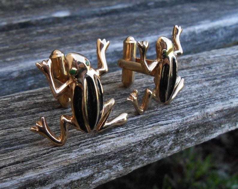 Groomsmen Father/'s Day. Groom Anniversary Gift For Dad Vintage Frog Cufflinks Wedding Birthday Christmas