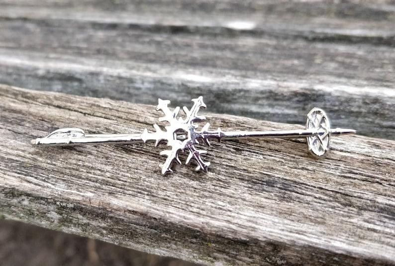 Tie Clip Christmas. Birthday Vintage Ski Pin Gift For Dad Anniversary Mom Wedding