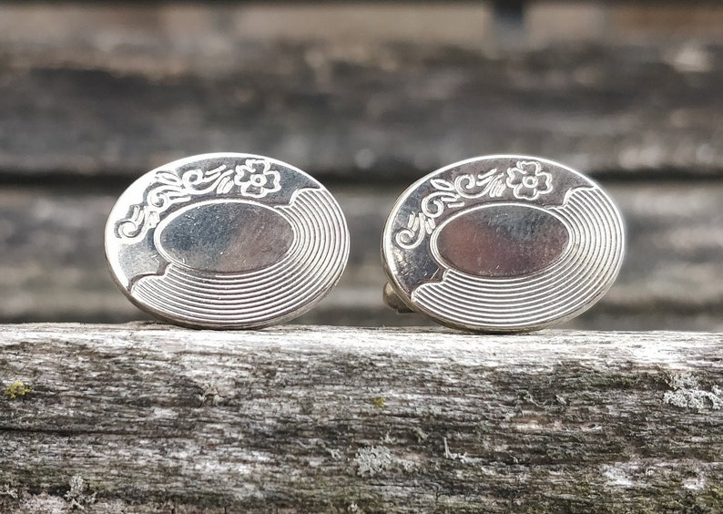 Vintage Engraved Floral Cufflinks Dad Groom Father/'s Day. Anniversary Wedding Gift For Groomsmen Birthday