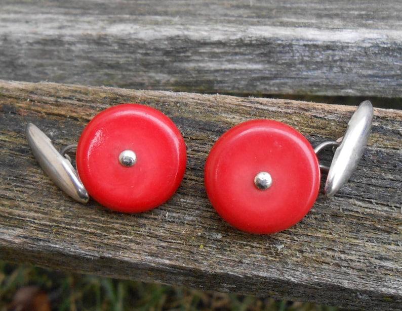 Valentine/'s Day Vintage Red Button Cufflinks Gift for Men Anniversary Plastic Wedding. Dad Groom
