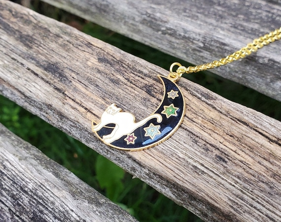 Vintage AVON pendant necklace with mother of pearl /& gold tone cat Costume jewelry gift Cat lovers vintage jewellery