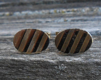 Vintage Gold Striped Cufflinks. Gift for Dad, Groom, Groomsmen, Wedding, Anniversary, Christmas, Birthday.