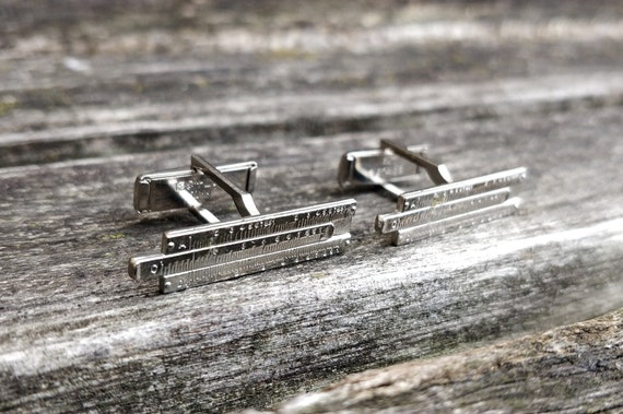 Christmas Father/'s Day. Birthday Groom Anniversary Sterling Silver Wedding Gift For Groomsmen Dad Vintage Slide Rule Cufflinks