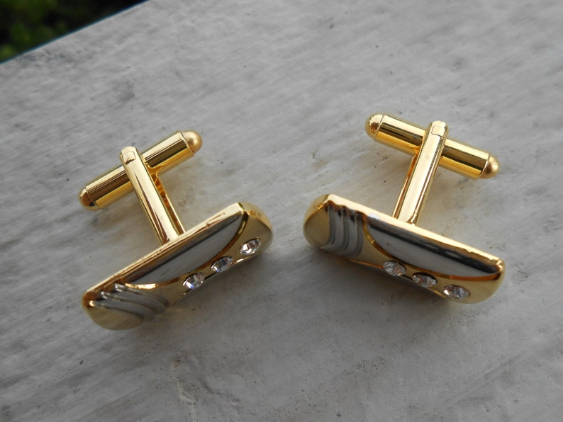 Gift For Dad Anniversary Brother Christmas Birthday. Husband Vintage Gold /& Silver Rhinestone Cufflinks