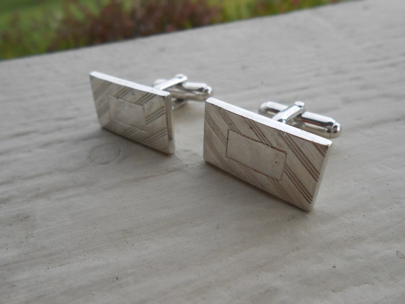 Birthday Wedding Anniversary Gift For Dad Monogram Vintage Silver Cufflinks Husband